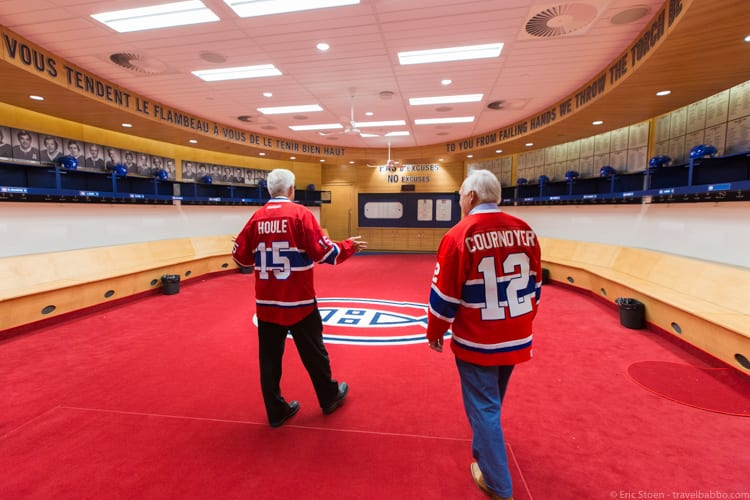 Things to Do in Montreal - Yvan Cournoyer and Réjean Houle leading us into the Canadiens' locker room