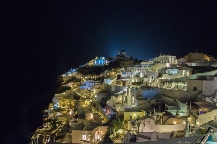 Day trip to Santorini - The view at night from our room at Alexander's Boutique Hotel