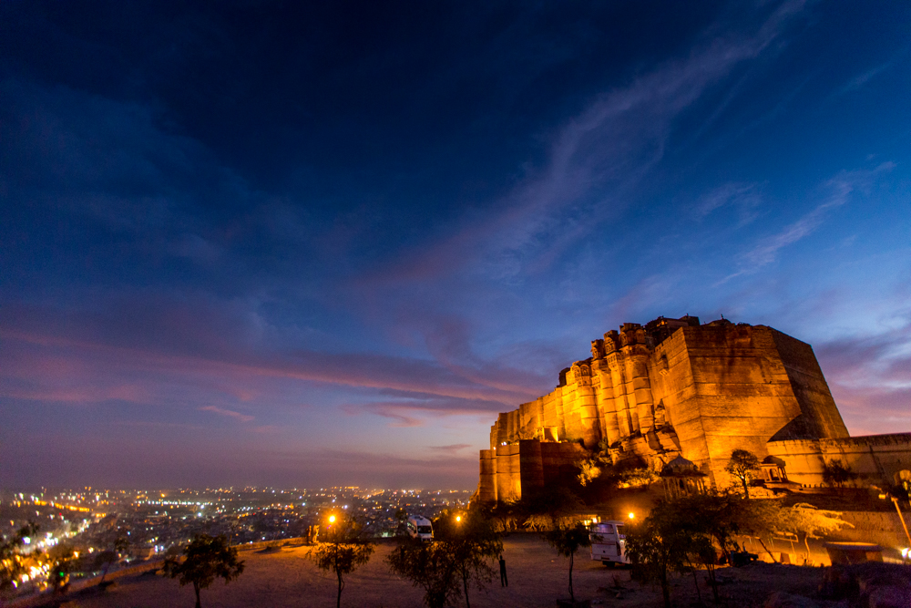 Places to see in India: Jodhpur: The Mehrangarh Fort at night, Jodhpur