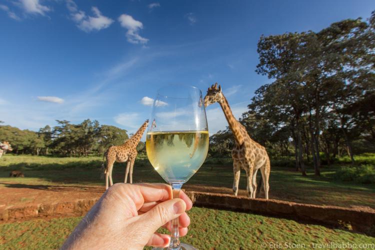 Giraffe Manor - Wine is always better with giraffes