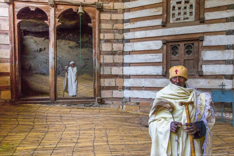 Ethiopia travel: In Yemrehane Kristos Church - a priest and a pilgrim