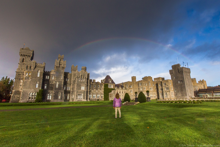 Ashford Castle Best of 2016: A (faint) double rainbow over Ashford Castle.