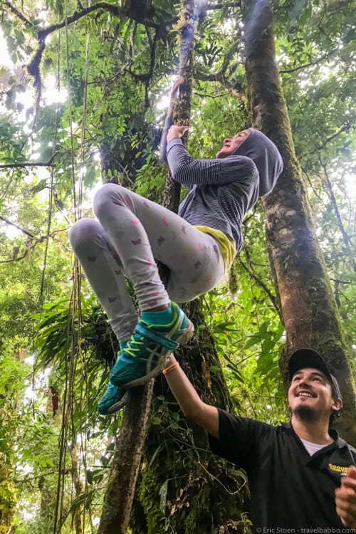 Panama Family Travel - Learning to climb vines with our Boquete hike guide