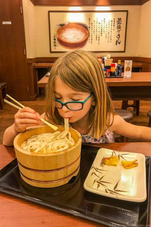 Tokyo with Kids - Udon in the lobby of the Pfizer building