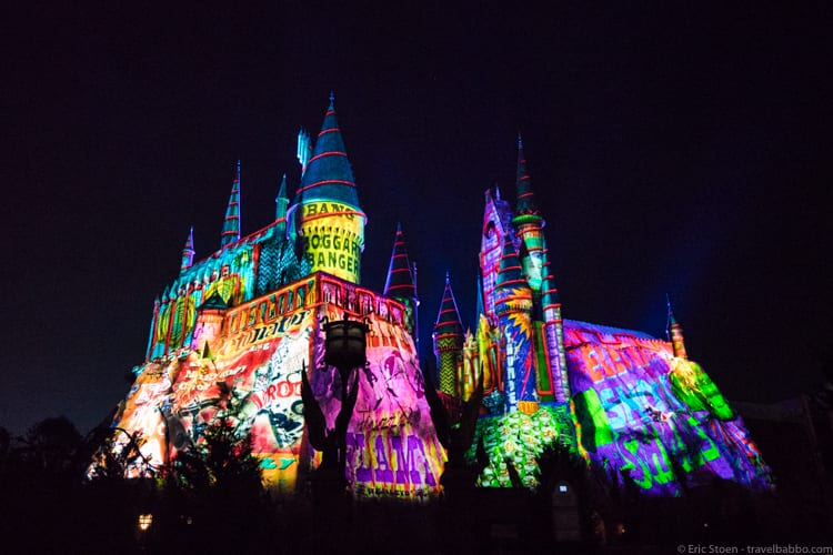 Universal Orlando Holidays: Hogwarts after being enchanted by the Weasleys