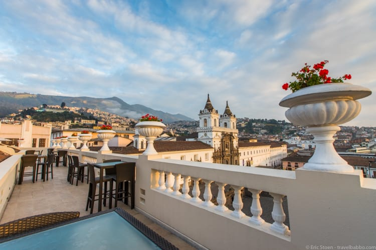 Quito with Kids - The rooftop terrace at Casa Gangotena