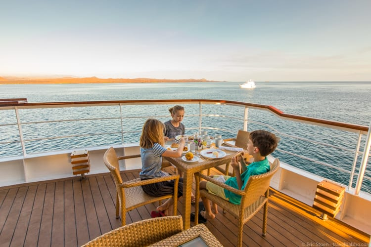 Galapagos with Kids - Breakfast on deck on morning