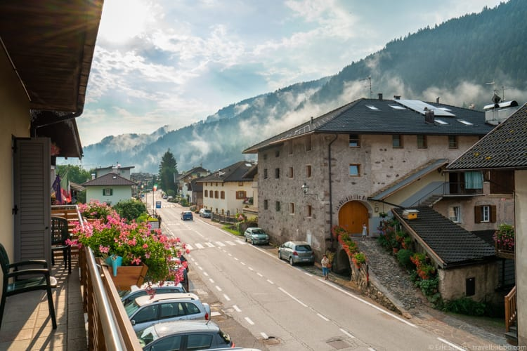 Dolomites with kids: Early morning Italian life from the patio of our room at Hotel Italia