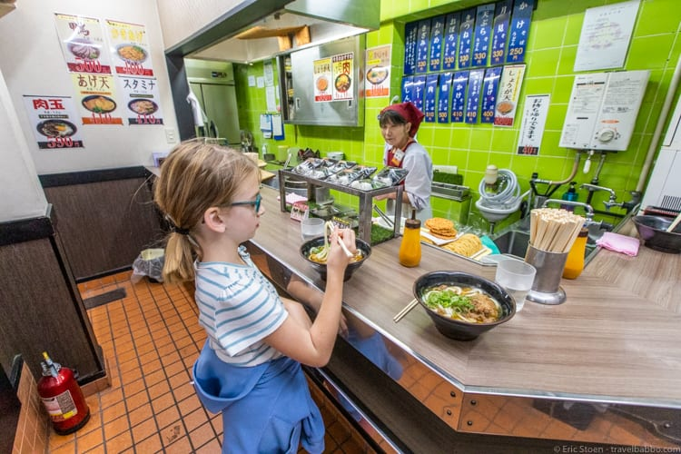 Kyoto with kids - Dining on udon bowls